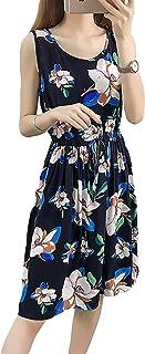 ZhongJue(ジュージェン) レディース ワンピース ショート丈 袖なし ノースリーブ ワンピース 花柄 フェミニン コットン ワンピース 大きいサイズ ハイウエスト 高見え ワンピース