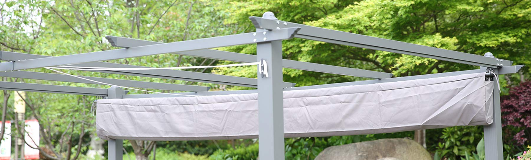 Angel Living - Funda de Protectora para la Lona del Techo de 3x4m pérgola para jardín o Patio, Color Gris: Amazon.es: Jardín