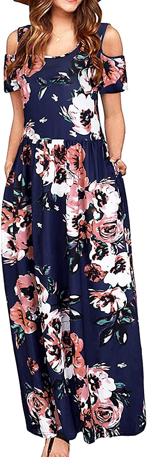 Dresses for Women Casual, Summer Cold Shoulder Long Maxi Dress Sleeveless Floral Plus Size Party Cami Long Dress