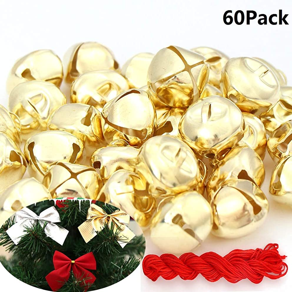 60Pack1 Inch Jingle Bells Christmas Gold Bells For Christmas & Party & Festival Decorations