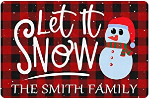 Personalized Christmas Doormat Let It Snow Snowman Custom Family Name 24