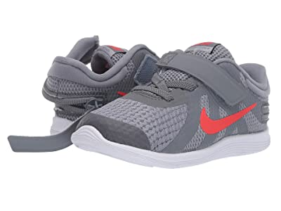 Nike Kids Revolution 4 FlyEase (Infant/Toddler) (Cool Grey/Habanero Red/Wolf Grey/White) Kids Shoes