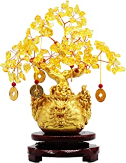 8.6 Inches Yellow Crystal Money-Making Lucky Tree Wine Cabinet Decoration Money Bag Decoration Home Living Room Gathering ...