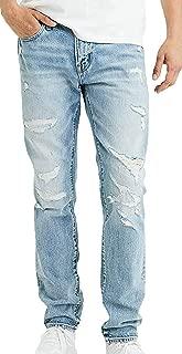 American Eagle Mens Extreme Flex Slim Straight Jean, Destroyed Medium Wash