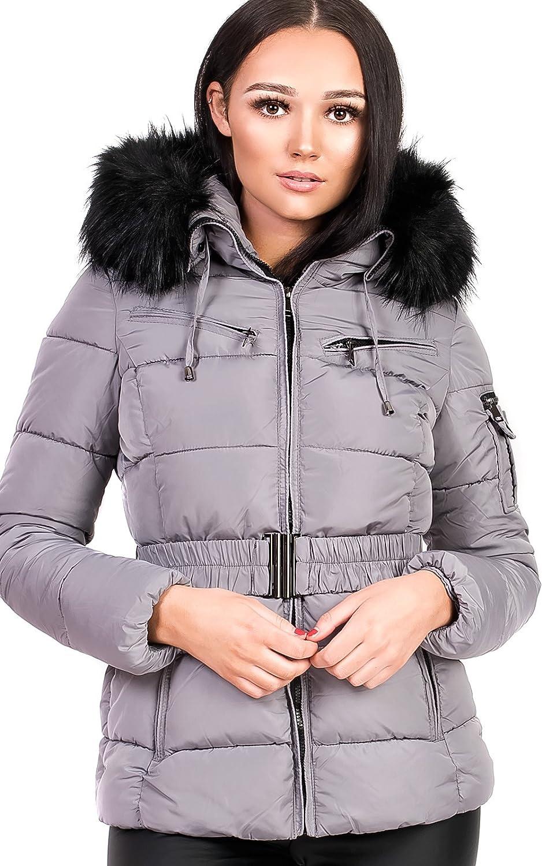 IKRUSH Women's Ladies Padded Faux Fur Hooded Jacket
