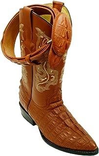 Men Genuine Cowhide Leather Crocodile Print Western j Toe Boots with Free Belt