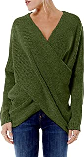 Sweaters for Women Long Sleeves Irregular Hem Jumpers Cross Front Sexy V Neck Knit Tops