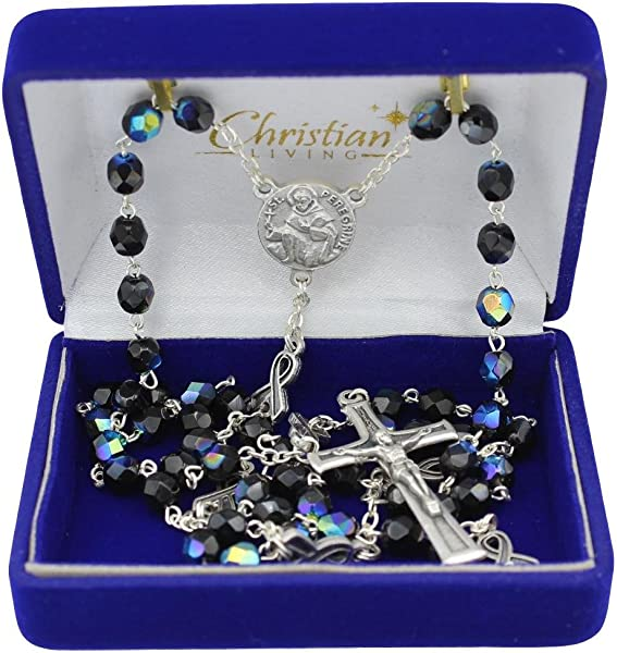 St Peregrine 6mm Black Glass With AB Finish Bead Rosary