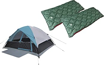 Alpinizmo High Peak USA Moffit 6 Men Tent + 2 Ranger 20 Sleeping Bags Combo Set, Blue/Green, One Size
