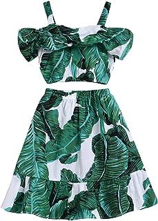 BOIZONTY Toddler Kids Girl Ruffled Outfit Sling Halter Crop Top Shirt + Irregular Maxi Denim Skirts Dress Clothes Set