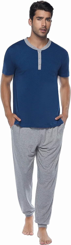 Ekouear Mens Pajama Set Short Sleeve Sleepwear Long Cotton Pj Pants Soft Nightwear Comfy Loungewear for Men M-XXXL