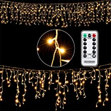Deuba Regenlichterkette 600 LED I warm-weiß I inkl Fernbedienung I 8 Leuchtmodi I Timer I Dimmbar I In- & Outdoor Regenkette Lichterkette
