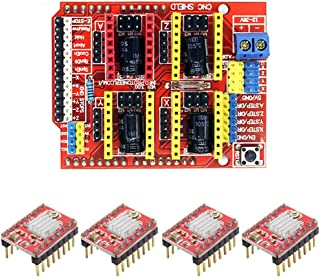 CNC Shield V3.0 placa de expansión y 4 piezas A4988 motor paso a paso con disipador de calor para máquina de impresora 3D grabadora Arduino V3