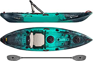 Vibe Kayaks Yellowfin 100 10 Foot Angler Recreational Sit On Top Light Weight Fishing Kayak (Caribbean Blue) with Paddle and Adjustable Hero Comfort Seat - Grey Evolve Paddle