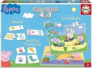 Educa Superpack Peppa Pig: Domino, Identic y 2 Puzzles, Juego de Mesa para niños, a Partir de 3 años (16229)