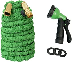 Vhccirt 150ft 45 Meter Garden Hose Expandable Flexible 3 Times Double Rubber Core Solid Brass Fittings 8 Nozzles Water Sprinkler
