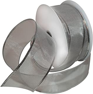 Morex Ribbon Lustrous Wired Metallic Sheer Ribbon, 2-1/2-Inch by 50-Yard Spool, Silver