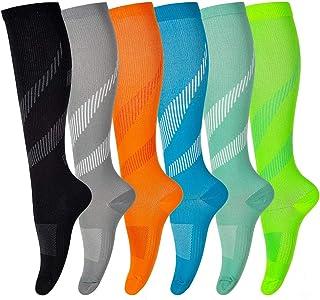 6-Pair Compression Socks for Men & Women 20-30 mmHg for Athletic, Travel, Hiking, Flight, Nursing, Running