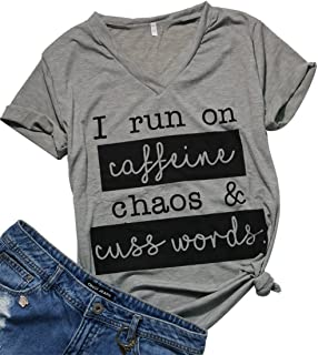 825657243da93 Womens I Run On Coffee Chaos Cuss Words Funny V-Neck Short Sleeve Summer T