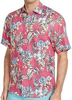 Tommy Bahama 色あせたフローラ リネン キャンプシャツ