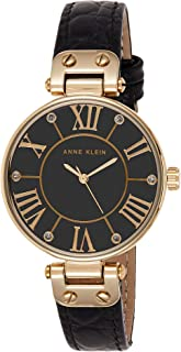 AK/1396BMBK Black and Gold-Tone Leather Croco-Grain Strap Watch