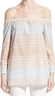 Lafayette York Orange Stripe Petite Knit Top Blouse