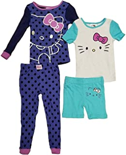 8089d60bf Komar Kids Hello Kitty Girls' 4-Piece Cotton Pajamas Sleepwear Set with  Shorts and