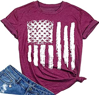 Women American Flag Shirt Patriotic Stars Stripes Short Sleeve Casual Graphic Print Tee Tops