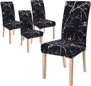 Fundas de Silla de Comedor Elásticas y Modernas,Extraíbles y Lavables, Fundas de Licra para sillas Altas 4 Piezas Fundas Protectoras para sillas (Flor Negro, Juegos de 4) …
