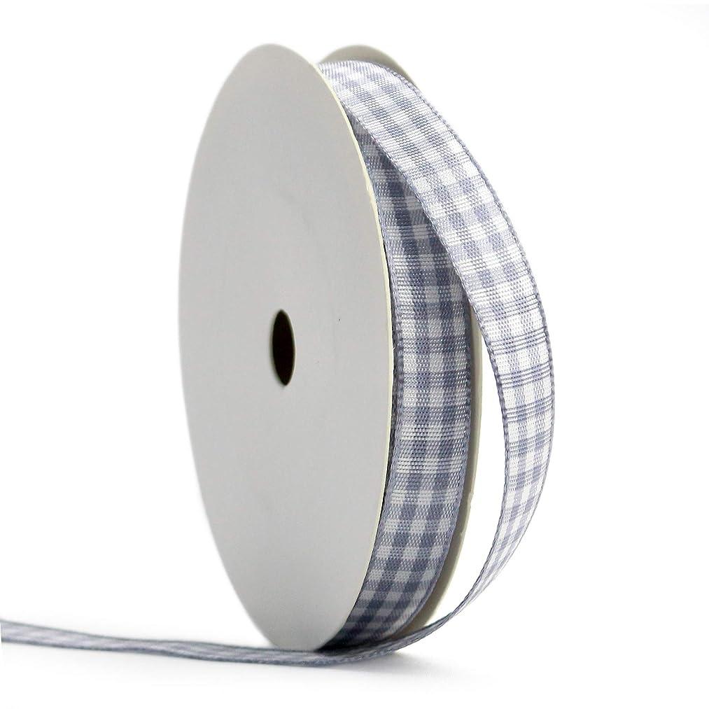 Midi Ribbon Light Grey Gingham Woven Edge Ribbon, 3/8