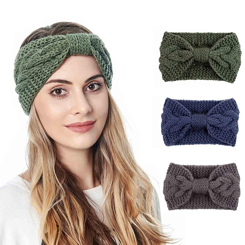 Olbye Crochet Knotted Headband Knitting Cotton Head Wrap Chunky Ear Warmer Bow Twist Headband Turband Winter Hairband Braided Head Scarfs for Women and Girls 3Pcs