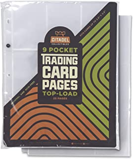 9-Pocket Trading Card Pages, Top-Load  Protective Sleeves for Standard Size Cards   TCGs, Sports, and Collectible Card Games  Acid-Free Transparent Plastic Sheets for 3-Ring Trading Card Binders