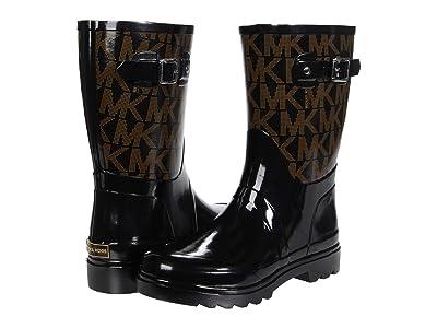 MICHAEL Michael Kors MK Logo Mid Rain Bootie (Black) Women