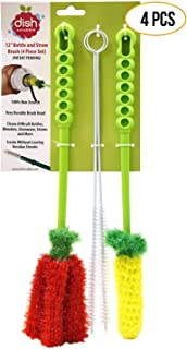 Long Bottle Brush Cleaner Set (3-in-1) and Straw Brushes | Thick and Thin Brush with Straw Cleaners for Washing Baby Bottle, Water Bottles, Mugs