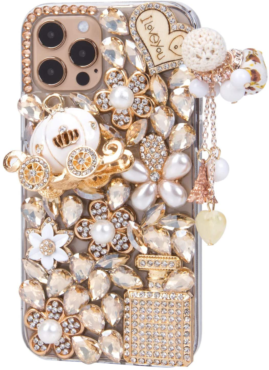 iFiLOVE for iPhone 13 Pro Max Bling Case, Girls Women 3D Luxury Sparkle Glitter Diamond Crystal Rhinestone Pumpkin Car Charm Pendant Protective Case Cover for iPhone 13 Pro Max 6.7 inch (Champagne)