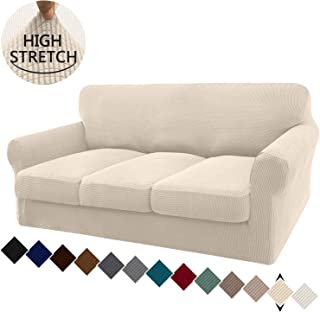 Granbest 4 Piece High Stretch Couch Covers for 3 Cushion Couch Super Soft Fitted Sofa Slipcover Non-Slip Sofa Cover Furniture Protector with Individual Cushion Covers (Large, Beige)