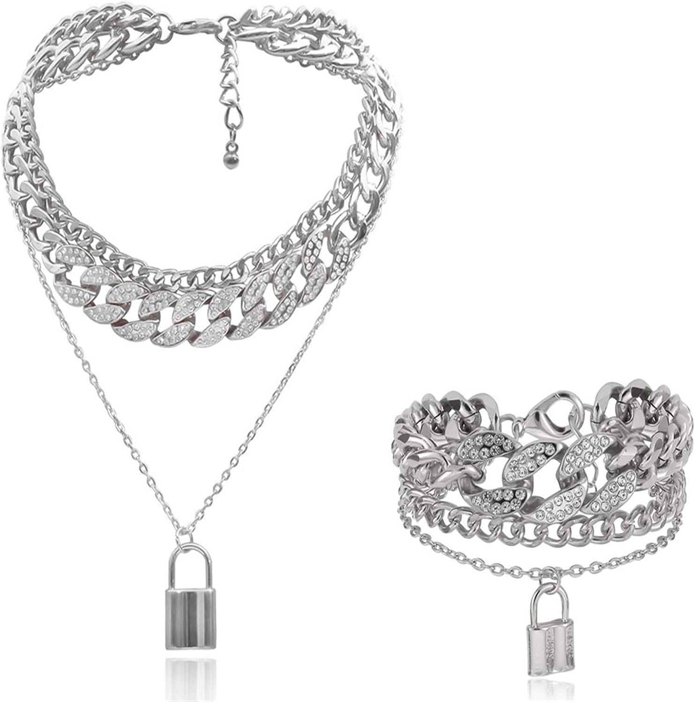 N/Q Layered Hip Hop Chunky Cuban Link Chain Rhinestone Beads Lock Pendant Necklace Bracelet for Women Girl Men Boy Shiny Crystal Bling Punk Cool Unisex Jewelry Set Nightclub Bar Accessory