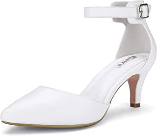 Women's IN3 D'Orsay Pointed Toe Ankle Strap Mid Heel Low Kitten Dress Pump Shoes