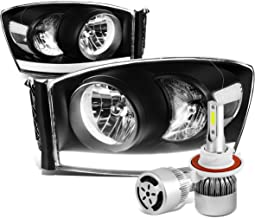 For Dodge Ram 3rd Gen Pair of Black Housing Clear Corner Headlight W/DRL Strip + H13 LED Conversion Kit W/Fan