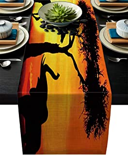 LOT BASIC Table Runners for Wedding Banquet Reception Party Decoration,Giraffe and Elephant Playing in The Sunset African Animals Design Family Dinner Supplier Fabric Party Table Runner 16X72 inch
