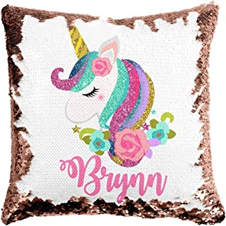 Custom Unicorn Reversible Sequin Pillow, Personalized Gifts for Girls, Mermaid Pillow, Kids Throw Pillow, Unicorn Decor, 6 Designs to Choose from, Crafted and Shipped from The USA! (Rose Gold/White)