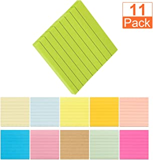 A+Selected Super Sticky Notes 3x3 Inches, 11 Pack Colored Stick Notes with Lined, Self-Stick Note Pads Use for Reminders or Message on Doors, Windows and Walls Red, Pink, Orange, Yellow, Green, Blue