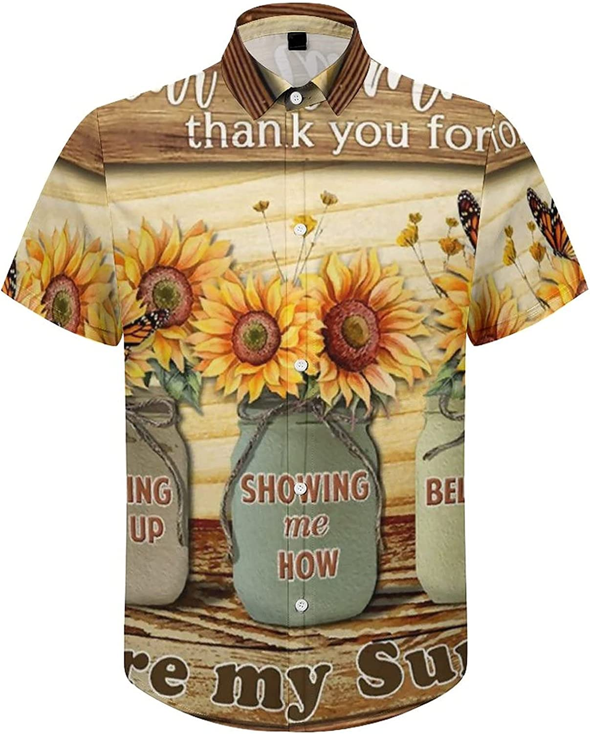 Men's Regular-Fit Short-Sleeve Printed Party Holiday Shirt Thank You Mommy Sunflower Butterfly