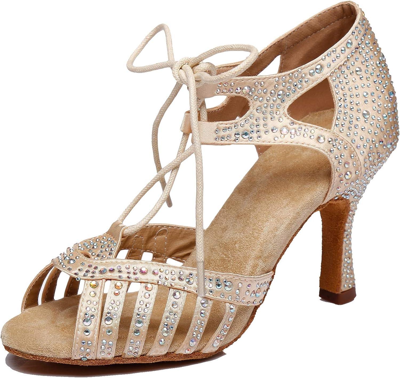 Minishion Women's Latin Salsa Lace-up Crystals Satin Dance Shoes