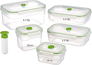 Lasting Freshness 11 Piece Vacuum Seal Food Storage Container Set, Rectangle