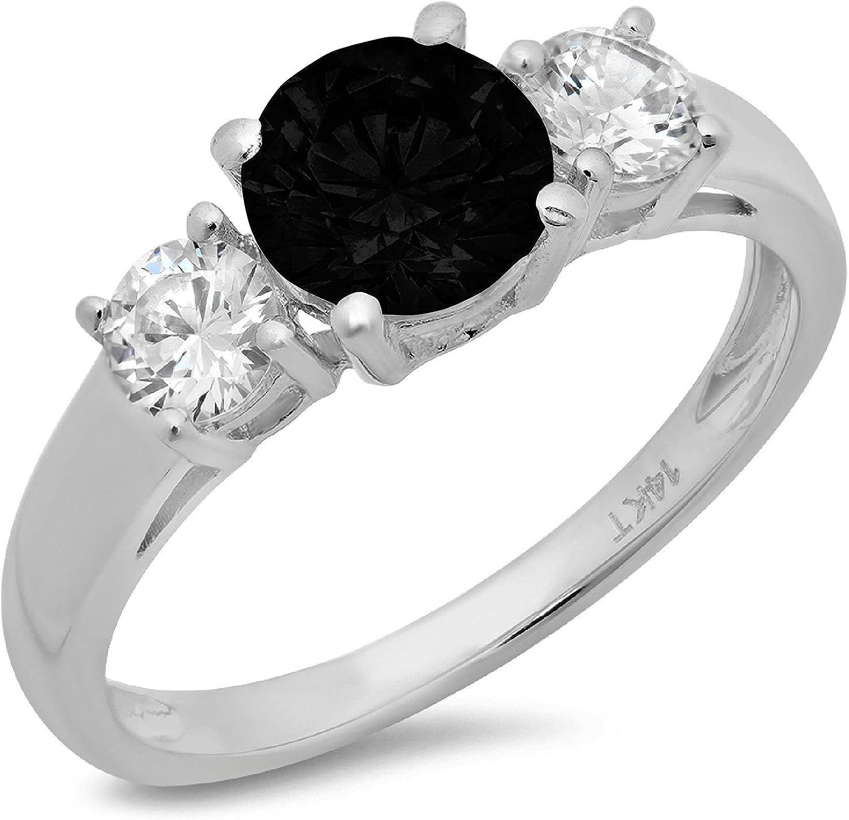 Clara Pucci 1.6 ct Brilliant Round Cut Solitaire 3 stone Stunning Genuine Flawless Natural Black Onyx Gem Designer Modern Statement Ring Solid 18K White Gold