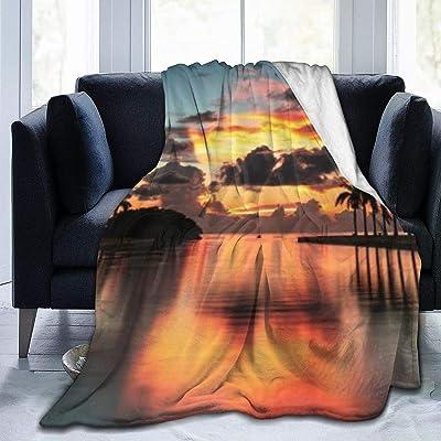 毛布 シングル 劇的な雲と鮮やかな空のパノラマのヤシの木の島の日の出 寝具 153CMx204CM