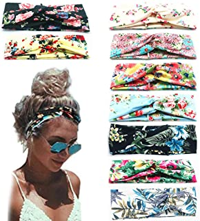 9 Pack Women's Boho Headbands for Women Girls Wide Bohemian Knotted Yoga Headband Head Wrap Hair Band Elastic Hair Band Accessories for girl(A)