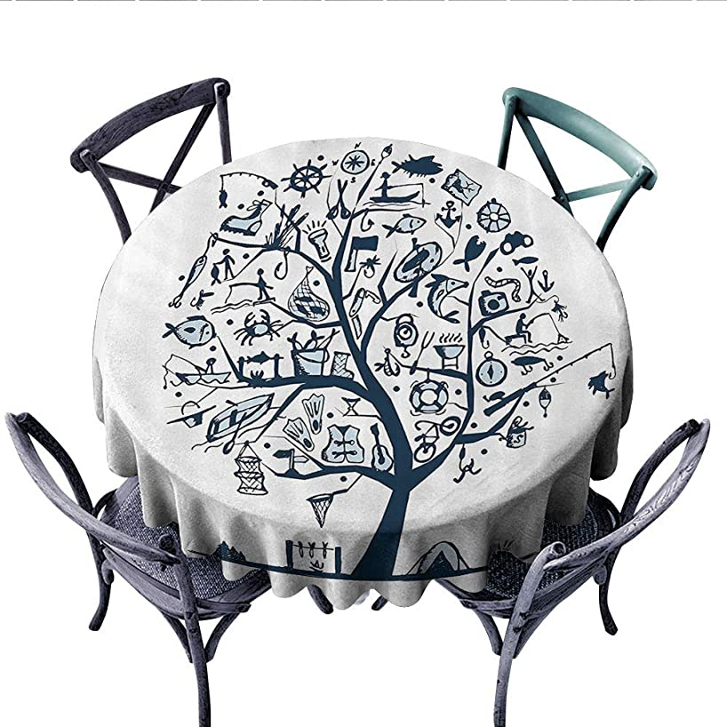Fishing Decor Dinner Picnic Table Cloth Cute Tree of Life with Marine Objects Anchor Wind Rose Compass Reel Nature Round Wrinkle Resistant Tablecloth (Round, 70 Inch, Light Blue)