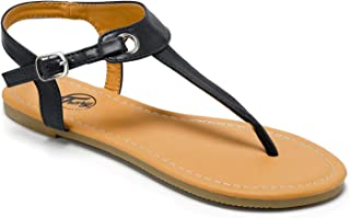 Open Toe Strap Tong and Buckle Flat Sandals for Women